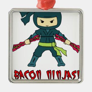 Bacon Ninja Silver-Colored Square Ornament
