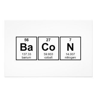 Bacon Periodic Table Element Symbols Stationery Paper