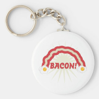 Bacon rainbow basic round button keychain