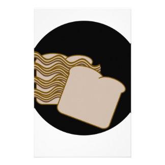 Bacon sandwich customized stationery