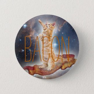 Bacon Surfing Cat 2 Inch Round Button