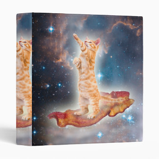 Bacon Surfing Cat in the Universe Vinyl Binder