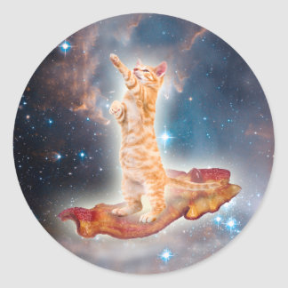 Bacon Surfing Cat in the Universe Classic Round Sticker