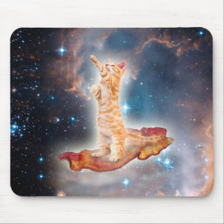 Bacon Surfing Cat in the Universe Mouse Pad