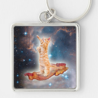 Bacon Surfing Cat in the Universe Silver-Colored Square Keychain