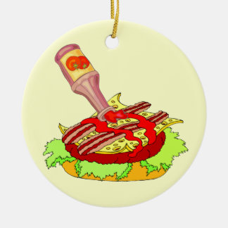 Bacon swiss cheeseburger with ketchup ceramic ornament