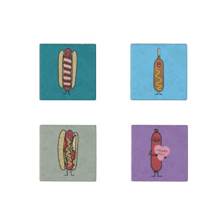 Bacon Wrapped Hot Dog Hotdog Wiener Chicago-Style Stone Magnets