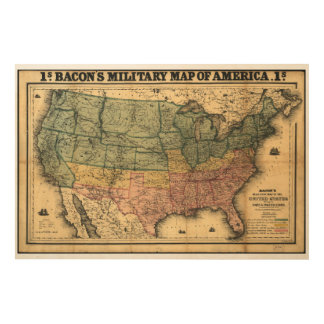 Bacon's Military Map of the United States (1862) Wood Canvases