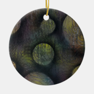 Bacteria enmeshed ceramic ornament