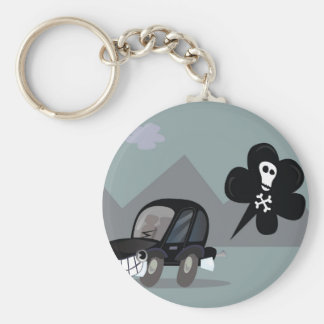 BAD BLACK CAR SIMPLE KIDS ART ILLUSTRATION BASIC ROUND BUTTON KEYCHAIN