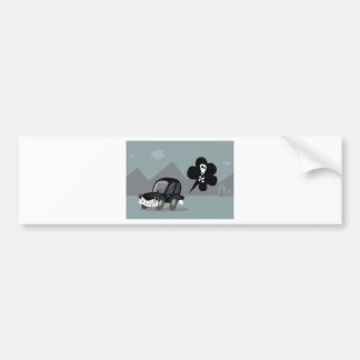 BAD BLACK CAR SIMPLE KIDS ART ILLUSTRATION BUMPER STICKER