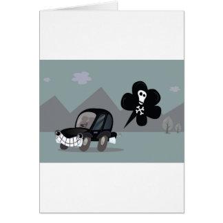 BAD BLACK CAR SIMPLE KIDS ART ILLUSTRATION CARD