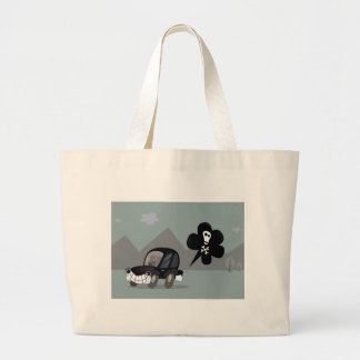 BAD BLACK CAR SIMPLE KIDS ART ILLUSTRATION LARGE TOTE BAG