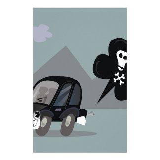 BAD BLACK CAR SIMPLE KIDS ART ILLUSTRATION STATIONERY PAPER