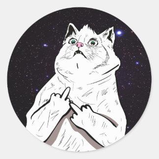 Bad Cat Says Fluff Off Classic Round Sticker