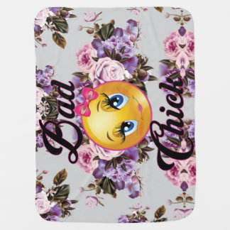Bad Chick  Blanket w/flower print