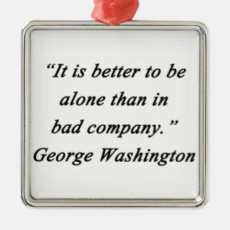 Bad Company - George Washington Silver-Colored Square Ornament