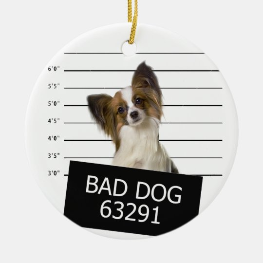 Bad dog round ceramic ornament