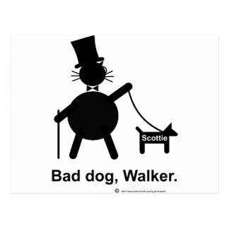 Bad dog walker postcard