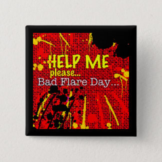 bad flare day red button/badge/pin 2 inch square button