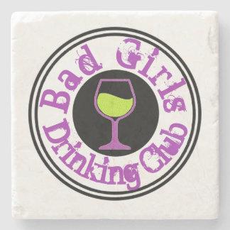 Bad Girl Drinking Club Wine Glass Stone Coaster
