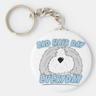 Bad Hair Day Sheepdog Keychain