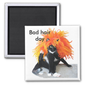 Bad hair day square magnet