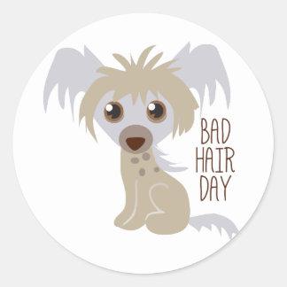 Bad Hair Day Round Sticker