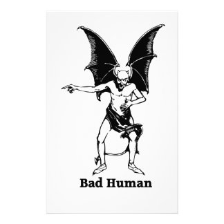 Bad Human mocking Devil Personalized Stationery