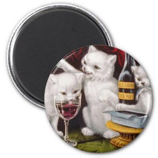Bad Kitties Drinking Wine Artwork 2 Inch Round Magnet