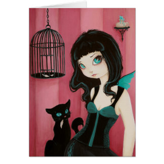 Bad Kitty - COLOR ME inside - fairy goth black cat Greeting Card