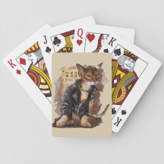 bad kitty playing deck of cards