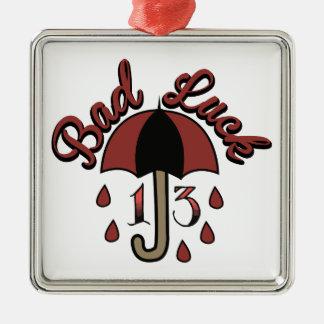 Bad Luck Silver-Colored Square Ornament