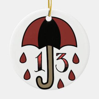 Bad Luck Umbrella Round Ceramic Ornament