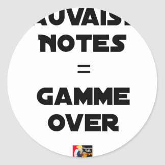 BAD MARKS = RANGE OVER - Word games Classic Round Sticker