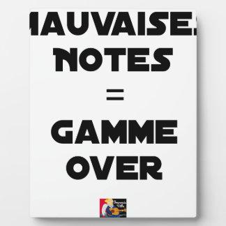 BAD MARKS = RANGE OVER - Word games Plaque