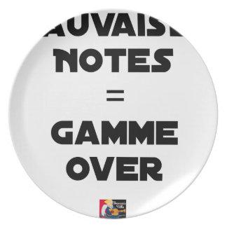 BAD MARKS = RANGE OVER - Word games Plate