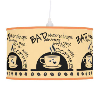 Bad Mornings and Coffee Typography Pendant Lamp
