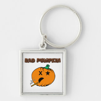 Bad Pumpkin Silver-Colored Square Keychain