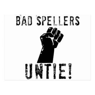 Bad Spellers UNTIE!! Postcard