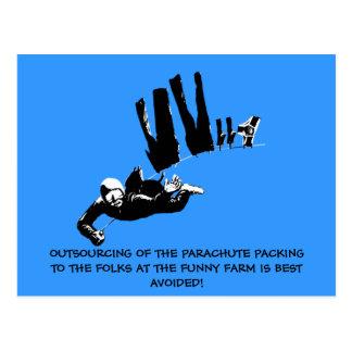 Bad taste but funny skydiving postcard