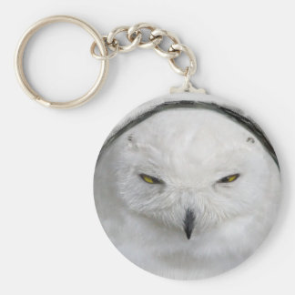 bad-tempered snowy owl basic round button keychain