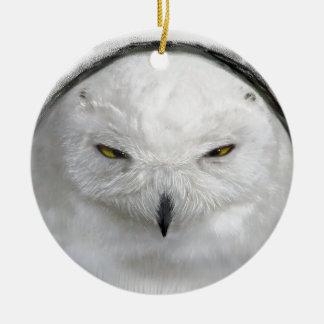bad-tempered snowy owl round ceramic ornament