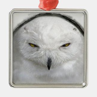 bad-tempered snowy owl Silver-Colored square ornament