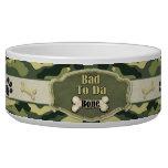 Bad To Da Bone Camo Dog Dish - Customize Pet Food Bowl