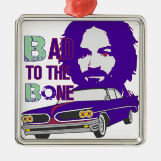 bad to the bone 2 Silver-Colored square ornament