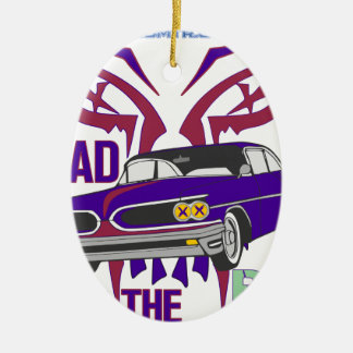 bad to the bone ceramic oval ornament