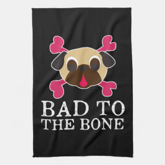 Bad To The Bone Fawn Pug And Crossbones Kitchen Towel
