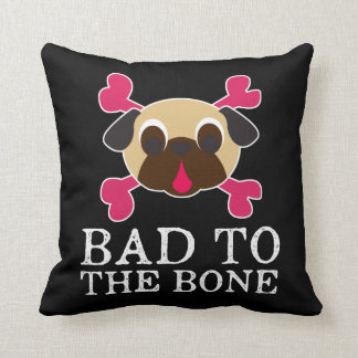 Bad To The Bone Fawn Pug Crossbones Pillow