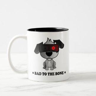 'Bad To The Bone' Fluff Dog two tone black mug. Two-Tone Coffee Mug